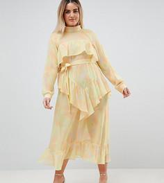 Шифоновое платье макси с принтом ASOS WHITE CURVE - Желтый