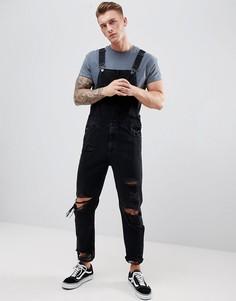Черный джинсовый комбинезон скинни с прорехами ASOS DESIGN - Черный