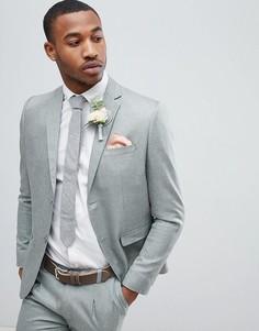 Серый зауженный пиджак boohooMAN Wedding - Серый