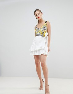 Асимметричная мини-юбка с оборками Morgan - Белый