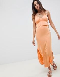 Летнее платье макси с баской ASOS DESIGN - Оранжевый