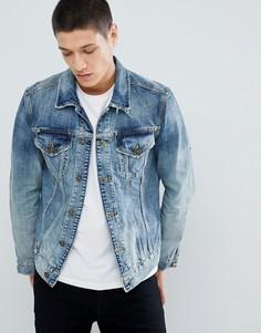Рваная джинсовая куртка AllSaints - Синий