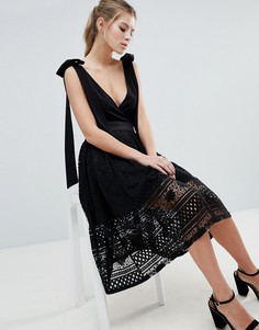 Кружевная юбка миди Oh My Love - Черный