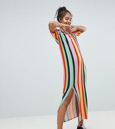 Платье-футболка макси в разноцветную полоску ASOS DESIGN Tall - Мульти
