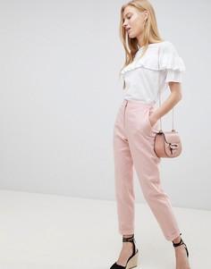 Льняные брюки-сигареты ASOS DESIGN - Розовый
