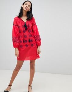 Платье-туника с вышивкой Pepe Jeans Kate - Красный