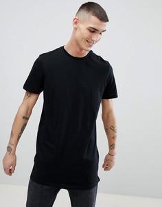 Удлиненная черная футболка New Look - Черный