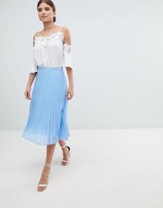 Шифоновая плиссированная юбка миди Jessica Wright - Синий