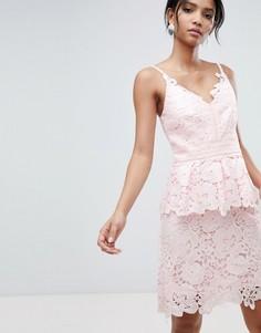 Платье с кружевной баской Ted Baker - Розовый