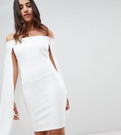 Платье-бандо мини с шифоновой накидкой Flounce London - Белый