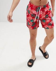 Красные шорты для плавания с тропическим принтом United Colors of Benetton - Красный