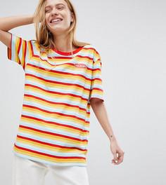 Эксклюзивная oversize-футболка из органического хлопка с разноцветными полосками Puma - Красный
