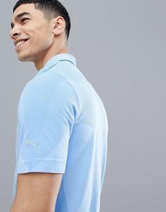 Синяя бесшовная футболка-поло Puma Golf Evoknit 57454701 - Синий
