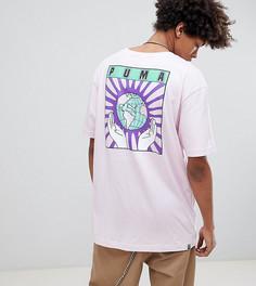 Розовая футболка из органического хлопка с принтом на спине Puma эксклюзивно для ASOS - Розовый