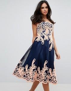 Платье миди в стиле барокко без бретелек Forever Unique - Черный