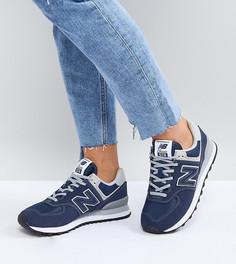Темно-синие замшевые кроссовки New Balance 574 - Черный
