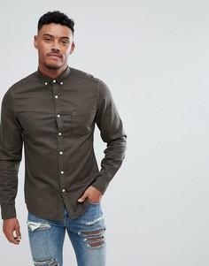 Эластичная джинсовая рубашка узкого кроя ASOS - Зеленый