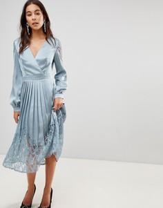Платье миди с запахом и плиссированной юбкой Little Mistress - Синий
