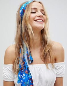 Синий шарф с цветочным принтом ASOS - Мульти