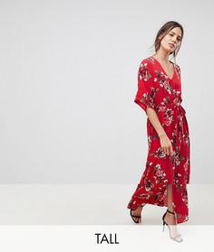 Платье макси в стиле кимоно с цветочным принтом Y.A.S Tall - Красный