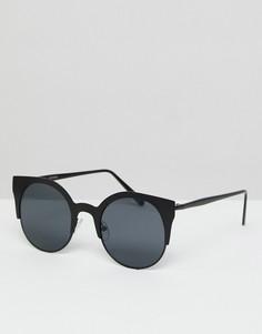 Солнцезащитные очки кошачий глаз в черной матовой оправе ASOS - Белый