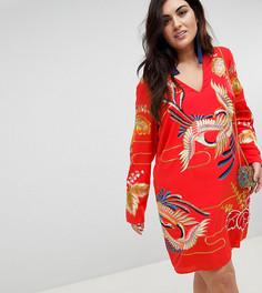 Платье мини с золотистой вышивкой ASOS DESIGN Curve - Красный