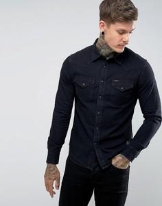 Черная выбеленная облегающая рубашка в стиле вестерн Lee - Черный