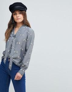 Блузка с принтом медведей и бантиком Yumi - Серый