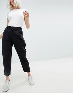 Черные широкие брюки со складками ASOS DESIGN - Черный
