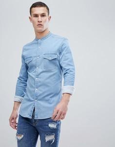 Светлая рубашка скинни в стиле вестерн ASOS - Синий