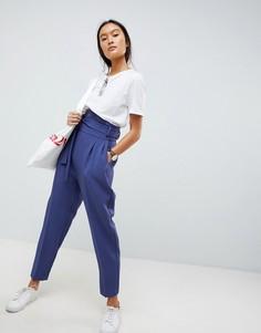 Суженные книзу брюки с завышенной талией и широкими штанинами ASOS DESIGN - Синий