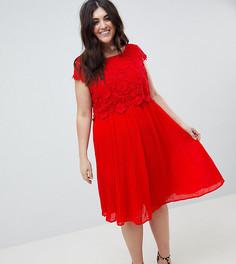 Платье с кружевным топом и юбкой со складками Lovedrobe - Красный