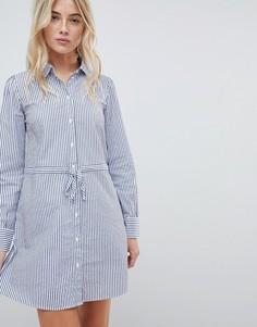 Платье-рубашка в полоску с поясом JDY - Мульти