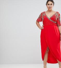 Платье миди с запахом и декоративной отделкой Virgos Lounge Plus Julisa - Красный
