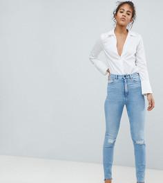 Выбеленные узкие джинсы в винтажном стиле с завышенной талией ASOS DESIGN Tall - Синий