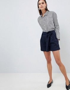 Льняные шорты с присборенной талией Y.A.S - Темно-синий