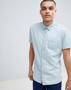 Джинсовая рубашка с короткими рукавами Selected Homme - Синий