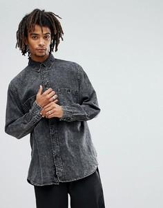 Джинсовая рубашка с эффектом кислотной стирки Cheap Monday Conduct - Черный