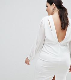 Облегающее платье с открытой спиной и разрезами на рукавах John Zack Plus - Белый