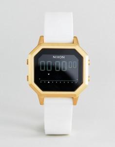 Электронные часы с белым силиконовым ремешком Nixon A1211 Siren - Белый