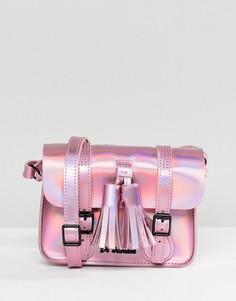 Переливающийся кожаный портфель мини Dr Martens 7 - Розовый