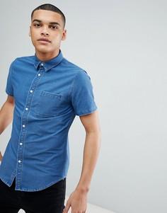 Джинсовая рубашка с короткими рукавами Another Influence - Фиолетовый