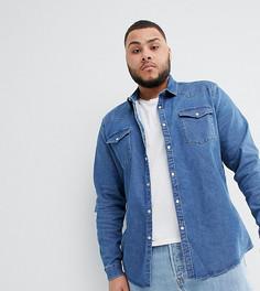 Выбеленная джинсовая рубашка в стиле вестерн узкого кроя ASOS DESIGN plus - Синий