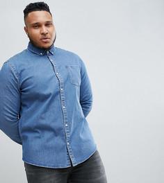 Выбеленная джинсовая рубашка узкого кроя ASOS DESIGN plus - Синий