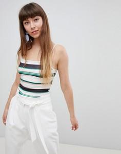 Боди в полоску с квадратным вырезом New Look - Зеленый