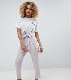 Повседневные широкие льняные брюки с поясом ASOS DESIGN Petite - Серый