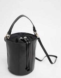 Кожаная сумка-бочонок через плечо ASOS DESIGN - Черный