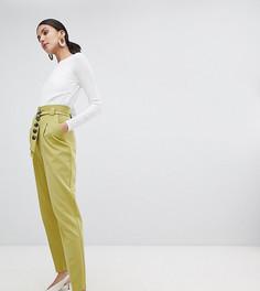 Зауженные брюки с контрастным поясом ASOS DESIGN Tall - Зеленый