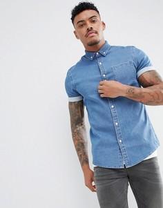 Эластичная джинсовая рубашка узкого кроя ASOS DESIGN - Синий