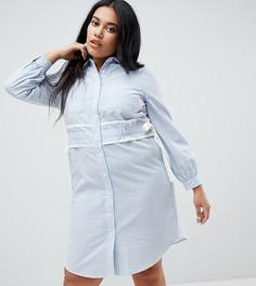 Платье-рубашка в полоску с отделкой на поясе Lost Ink Plus - Мульти
